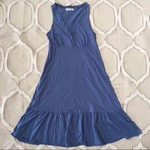 Michael Stars Blue Ruffle Cotton Knee Length Dress